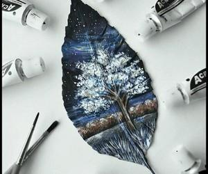 art, tree, and leaves image