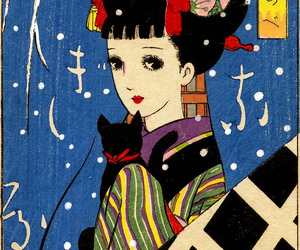 cat, graphic art, and japan image