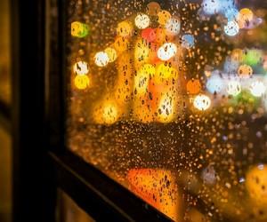 rain, night, and window image
