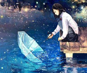 anime, illustration, and rain image