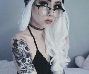 tattoo, white hair, and hair image
