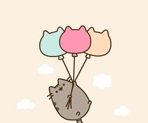 cat, pusheen, and balloons image