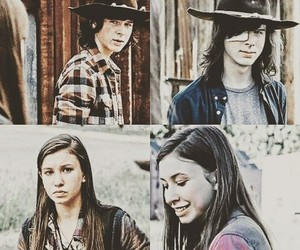 carl, enid, and the walking dead image