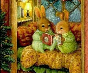 bunny, christmas, and drawing image