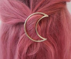 hair, pink, and moon image