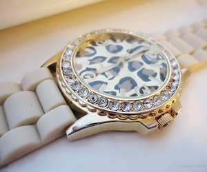 watch, gold, and leopard image