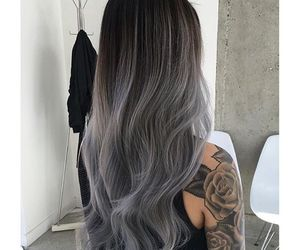 hair, tattoo, and gray image
