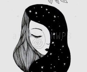 art, girl, and good night image