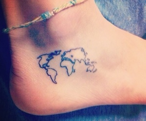 tattoo, world, and feet image