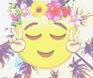 emoji, wallpaper, and flowers image