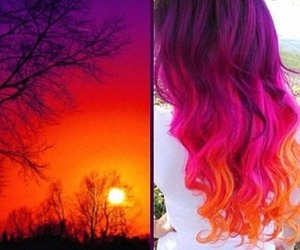 hair, orange, and purple image