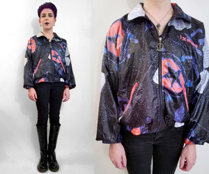 etsy, 90s party, and bomber jacket image