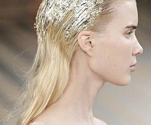 fashion, runway, and gold image