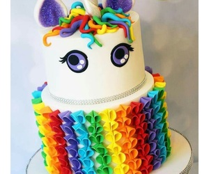 cake, rainbow, and unicorn image