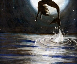 mermaid, moon, and night image