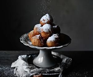 donut, doughnut, and icing sugar image