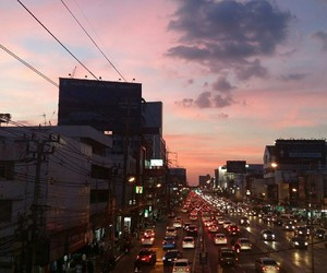 city, on Road, and sky image