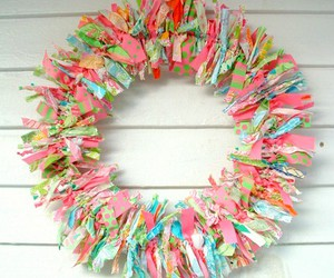 fabric, wreath, and pink image