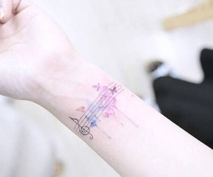 tattoo, music, and colorful image