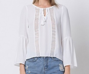 white blouse, chiffon blouse, and hollow out blouse image