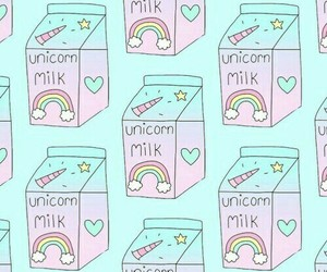 unicorn, wallpaper, and milk image