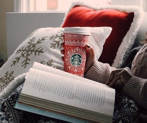 book, starbucks, and winter image