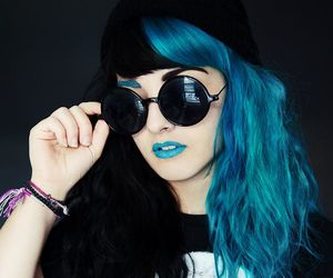 beautiful, beauty, and blue hair image