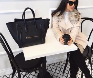 fashion, woman girl, and bag coat image