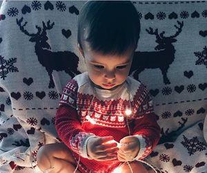 light, baby, and christmas image