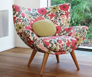 armchair, flowers, and pink image