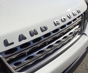 white, car, and land rover image