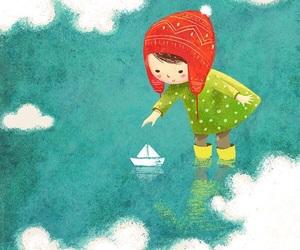 girl, illustration, and sea image