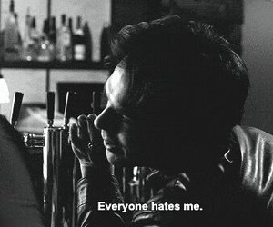 damon salvatore, hate, and black and white image