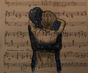 couple, drawing, and galaxy image