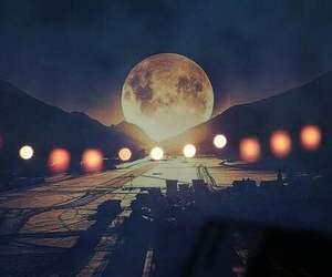 light, moon, and night image