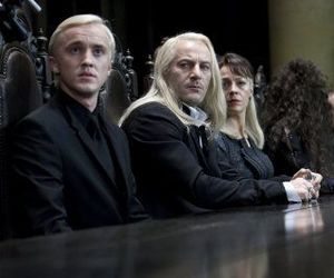 draco malfoy, lucius malfoy, and harry potter image