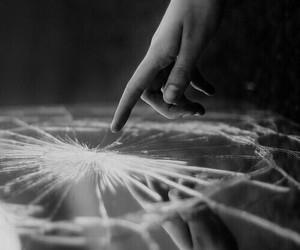 black and white, broken, and sad image