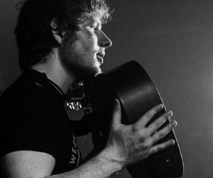 black & white, ginger hair, and guitar image