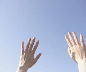 blue, sky, and hands image