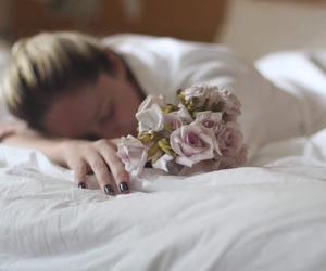 bed, blond girl, and flatlay image
