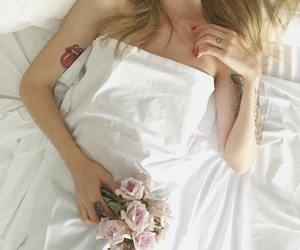 flower, bed, and blond image