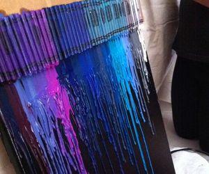 art, blue, and crayon image