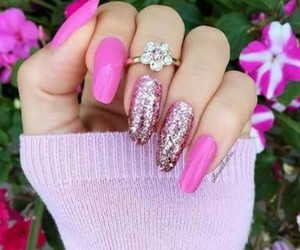 pink, nails, and glitter image