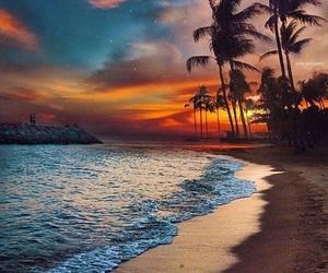 beach, beautiful place, and sunset image