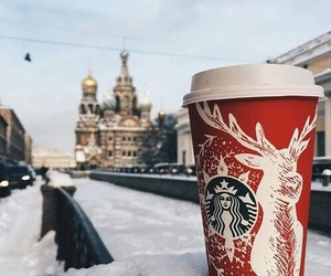 christmas, snow, and starbucks image