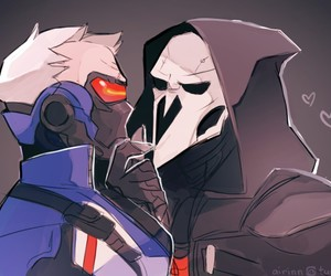 reaper, overwatch, and yaoi image