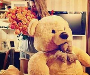 flowers, teddy bear, and love image