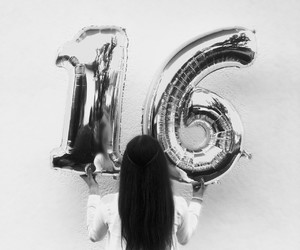 girl, balloons, and 16 image