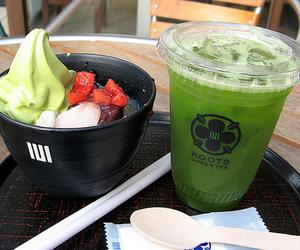 food, green tea, and ice cream image