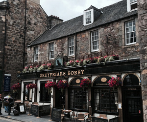 book shop, edinburgh, and flowers image